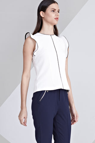 Lottie Ruffle Detail Sleeveless Top in White