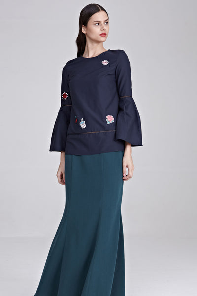 Ayu Flute Sleeves Top with Patches in Navy Blue