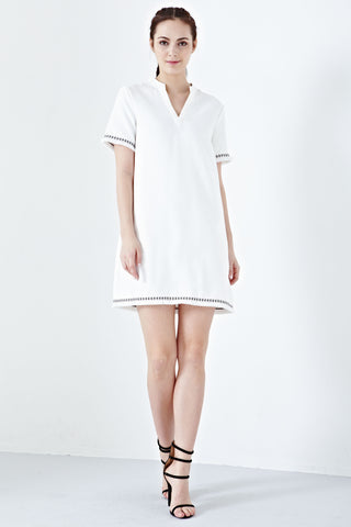 Arcene Two Way Lace-up Detail Shift Dress in White