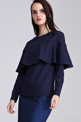 Nisha Ruffle Top in Navy Blue