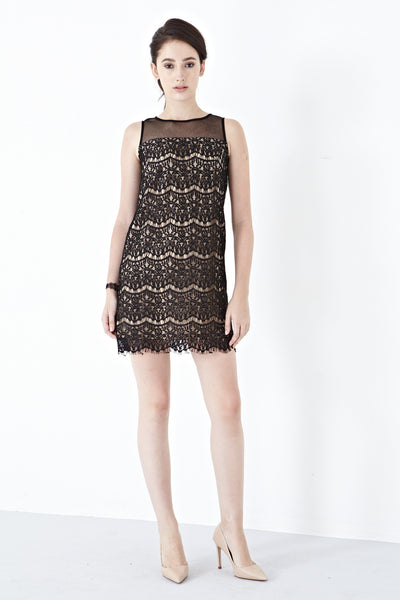 Vera Lace Overlay Shift Dress in Black - Dresses - Twenty3
