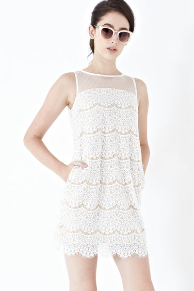 Twenty3 - Vera Lace Overlay Shift Dress in White -  - Dresses - 1