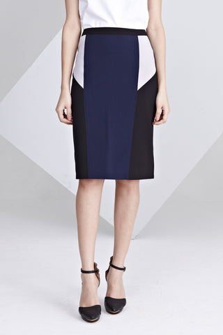 Paola Colour Block Pencil Skirt