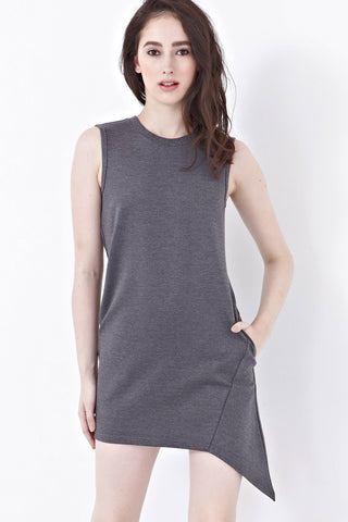 Caitlyn Shift Dress with Asymmetrical Hemline in Grey - Dresses - Twenty3