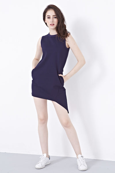 Caitlyn Shift Dress with Asymmetrical Hemline in Navy Blue - Dresses - Twenty3