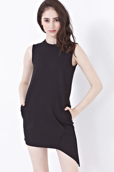Caitlyn Shift Dress with Asymmetrical Hemline in Black - Dresses - Twenty3