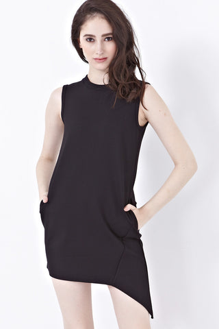 Twenty3 - Caitlyn Shift Dress with Asymmetrical Hemline in Black -  - Dresses - 1