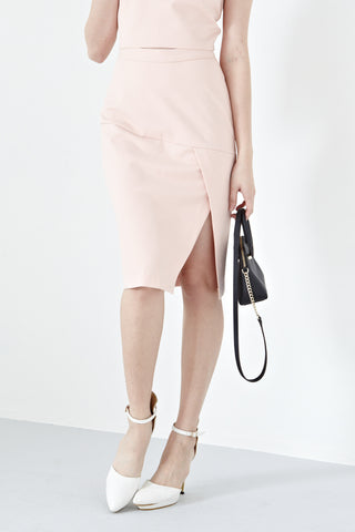 Abaigael Side Slit Bodycon Pencil Skirt in Dusty Pink