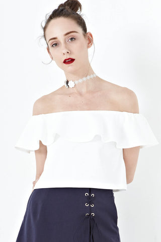 Mikayla Off Shoulder Top in White - Tops - Twenty3