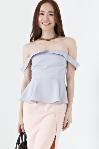 Elaina Off Shoulder Peplum Top in Dusty Lilac