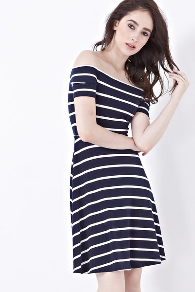 Twenty3 - Shelbie Off-Shoulder Dress in Stripes -  - Dresses - 1
