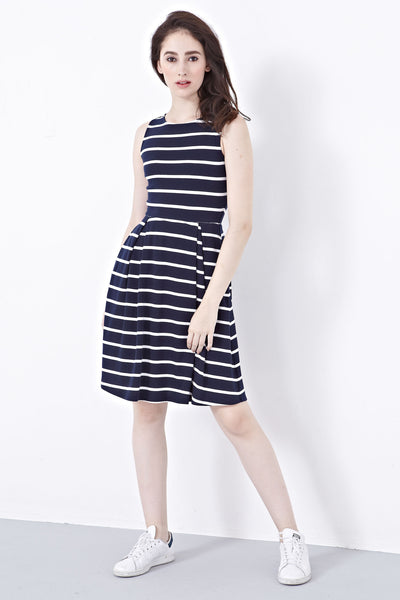 Shelbie Skater Dress in Stripes - Dresses - Twenty3