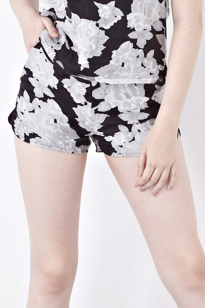 Misty Printed Organza Shorts in Black Florals - Bottoms - Twenty3