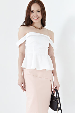 Elaina Off Shoulder Peplum Top in White - Tops - Twenty3