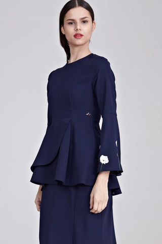 Dynas Peplum Top with Floral Embroidery in Navy Blue