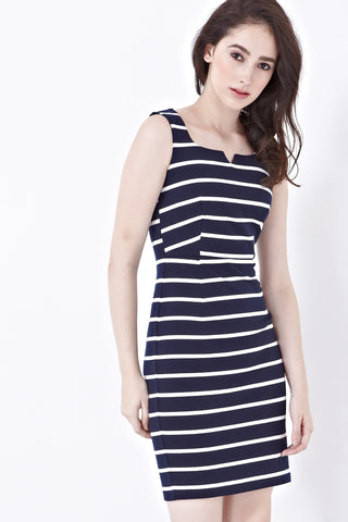 Twenty3 - Shelbie Sleeveless Bodycon Dress in Stripes -  - Dresses - 1