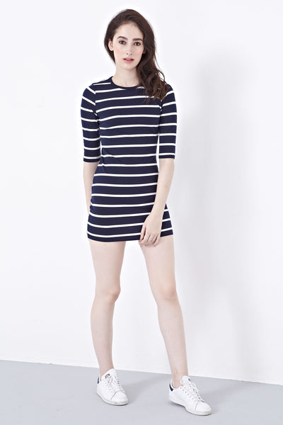 Shelbie Bodycon Dress in Stripes - Dresses - Twenty3