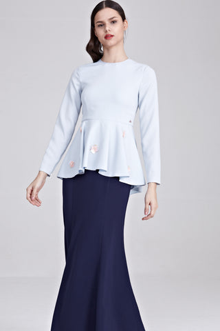 Shila Beaded Long Sleeve Top in Light Blue