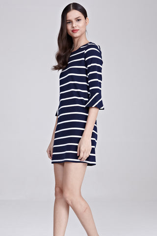 Stazie Flute Sleeves Shift Dress in Stripes