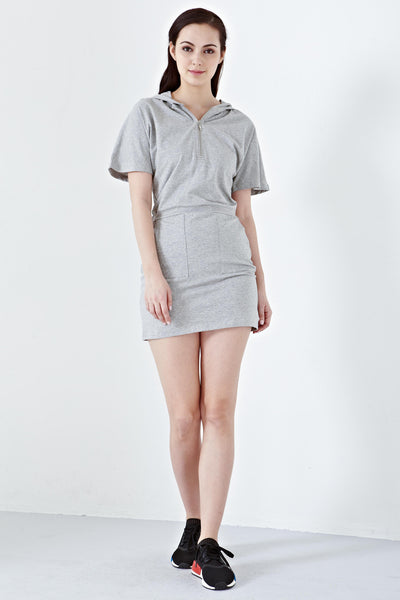 Twenty3 - Xora Hooded T-Shirt Dress in Grey -  - Dresses - 1