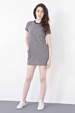 Twenty3 - Abella Textured T-Shirt Dress in Grey -  - Dresses - 1