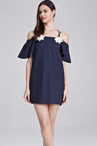 Philo Cold Shoulder Shift Dress with Floral Patch in Navy Blue