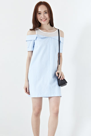 Alexandrite Contrast Panel Cold Shoulder Shift Dress in Light Blue