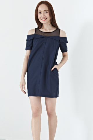 Alexandrite Contrast Panel Cold Shoulder Shift Dress in Navy Blue