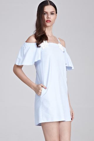Philo Cold Shoulder Shift Dress with Floral Patch in Light Blue