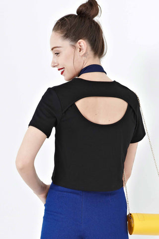 Evie Back Cut Out Top in Black - Top - Twenty3