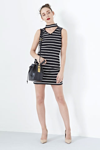 Lucia High Neck Bodycon Dress in Stripes - Dresses - Twenty3