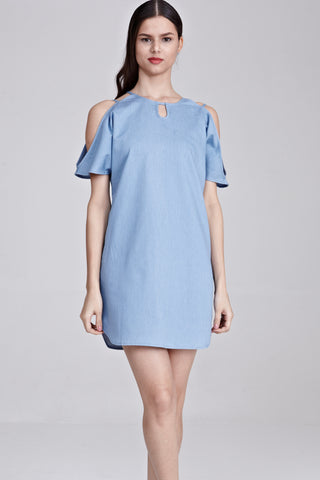 Cesca Cold Shoulder Shift Dress in Light Denim