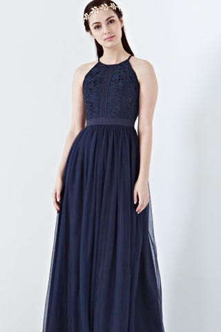 Twenty3 - Jezebel Lace Panel Tulle Bridal Gown in Navy Blue -  - Maxi Dress - 1