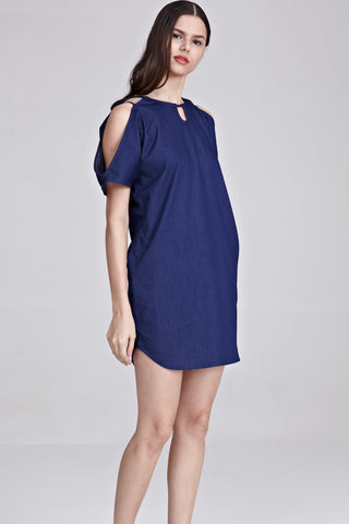 Cesca Cold Shoulder Shift Dress in Dark Denim