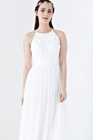 Twenty3 - Jezebel Lace Panel Tulle Bridal Gown in White -  - Maxi Dress - 1