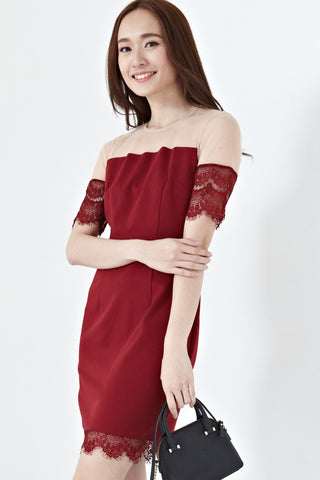 Bridget Lace Detail Bodycon Dress in Burgundy