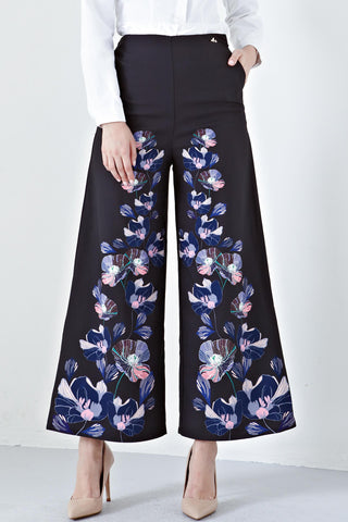 Azraa High Waist Culottes in Black Bilqis Prints