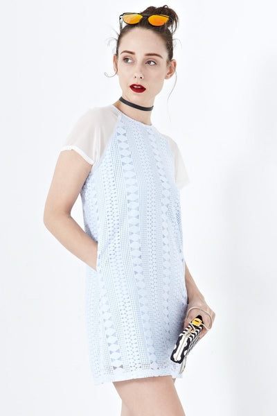 Twenty3 - Adley Shift Dress with Organza Sleeves in Blue Lace -  - Dresses - 1