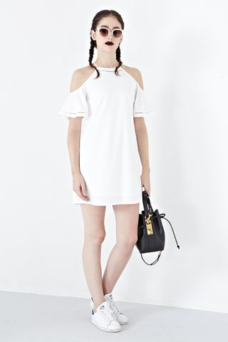 Twenty3 - Tori Cold Shoulder Shift Dress in White -  - Dresses - 1