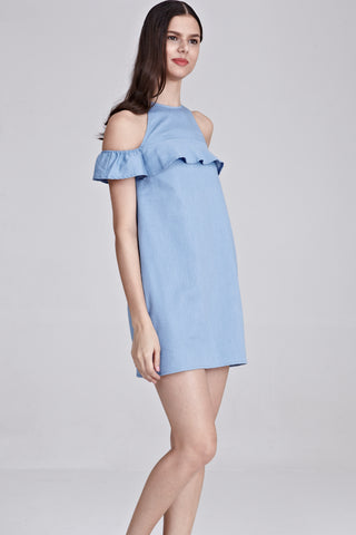 Daphy Ruffle Cold Shoulder Shift Dress in Light Denim