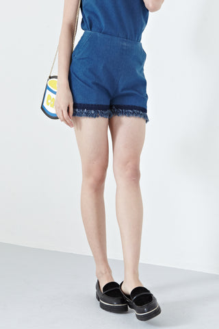 Judith Frayed Hem High Waist Shorts in Denim