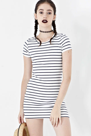 Twenty3 - Elvina Bodycon Dress in Navy Stripes -  - Dresses - 1