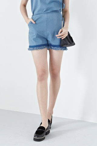 Judith Frayed Hem High Waist Shorts in Light Denim - Bottoms - Twenty3