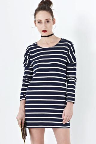 Twenty3 - Sophia Long Sleeve Shift Dress in Stripes -  - Dresses - 1