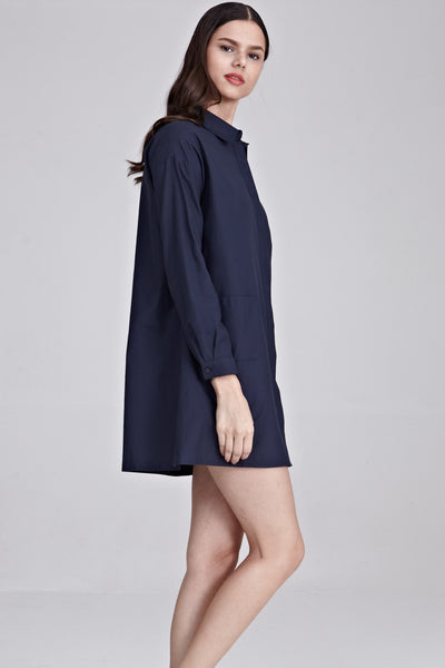 Elicia Oversize Shirt Dress in Navy Blue