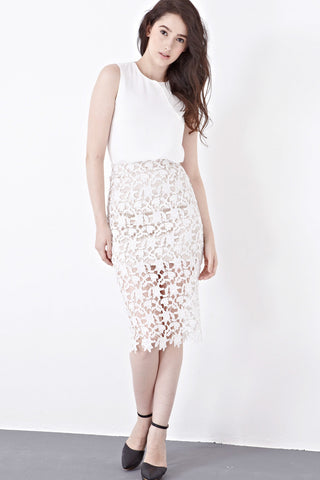 Twenty3 - Edme Lace Overlay Pencil Skirt in White -  - Bottoms - 1