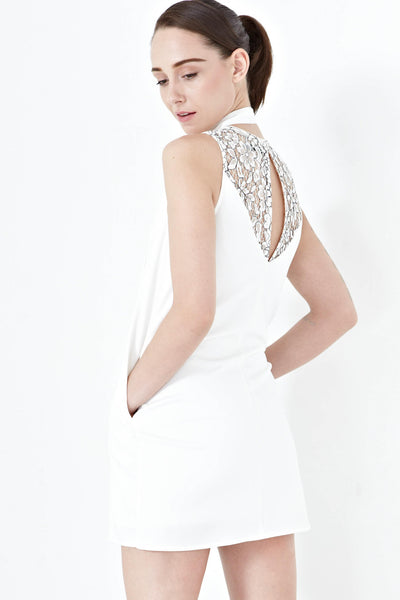 Simone Back Lace Panel Shift Dress in White - Dresses - Twenty3