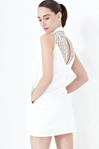 Twenty3 - Simone Back Lace Panel Shift Dress in White -  - Dresses - 1