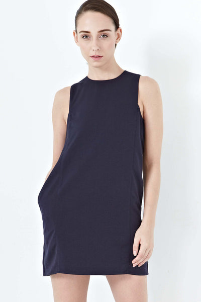 Simone Back Lace Panel Shift Dress in Navy Blue - Dresses - Twenty3