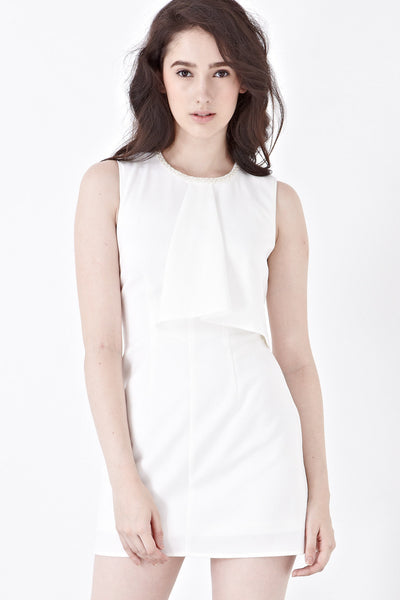 Twenty3 - Xandra Ruffle Detail Sheath Dress in White -  - Dresses - 1